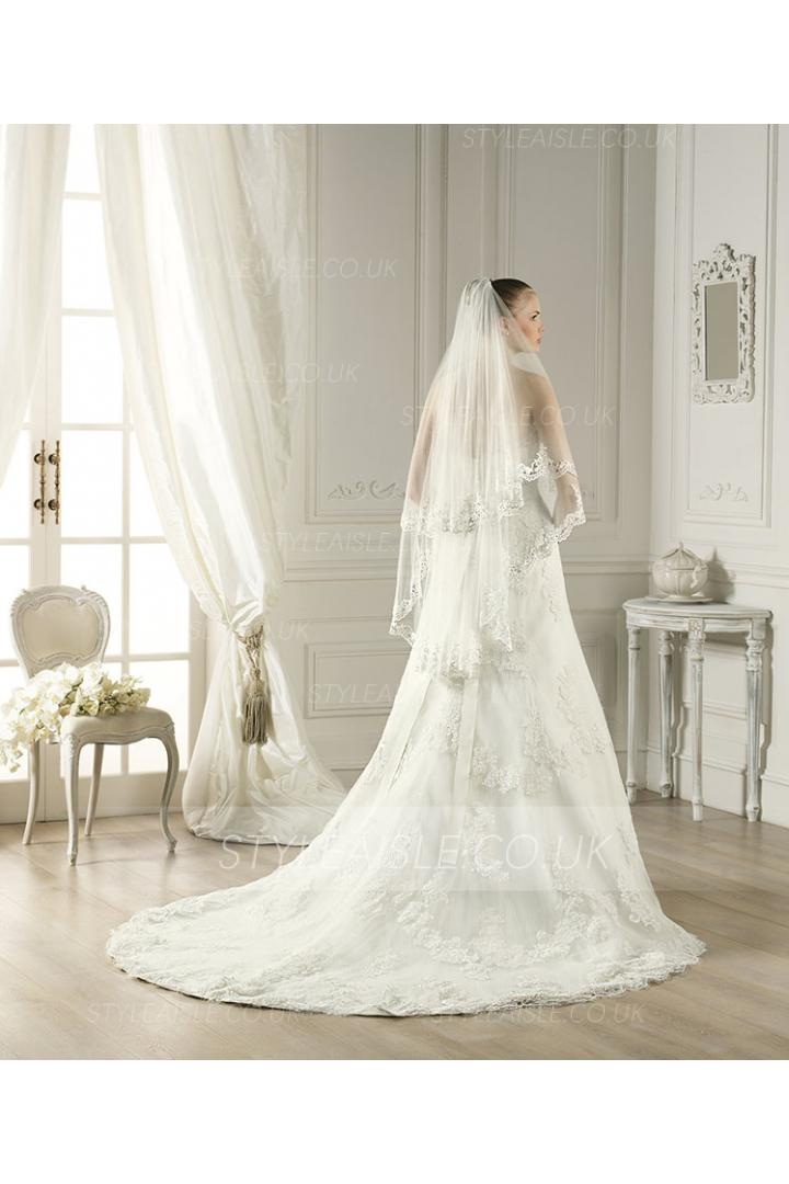 Charming Two Tiers Lace Tulle Wedding Veils