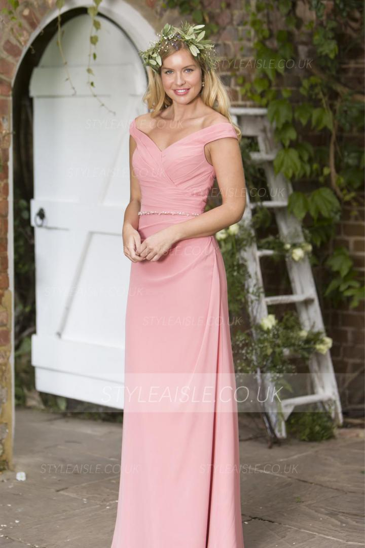 Pink Off Shoulder Long Pleated Chiffon Bridesmaid Dress