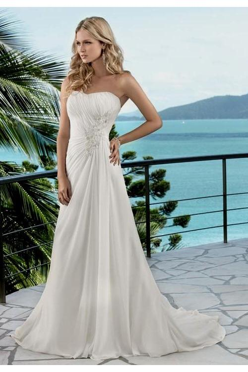 Elegant Strapless Ivory Empire Long Chiffon Wedding Dress Lace Appliques