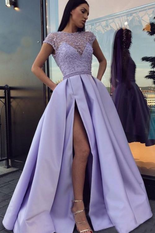 A-line Scoop Neckline Short Sleeves Beading Pockets Split Floor-length Long Satin Prom Dresses
