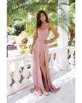 Sheath/Column Spaghetti Straps Sleeveless Split Sweep Train Long Prom Dress