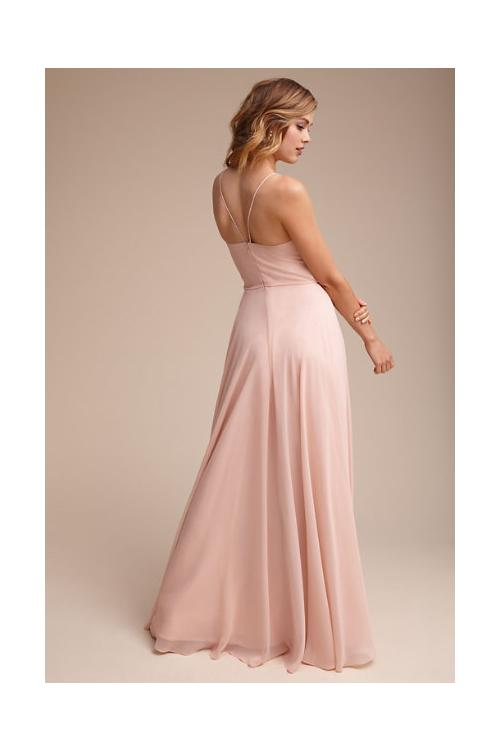 Casual Beach Style Long Spaghetti Straps Long Blush Chiffon Bridesmaid Dress