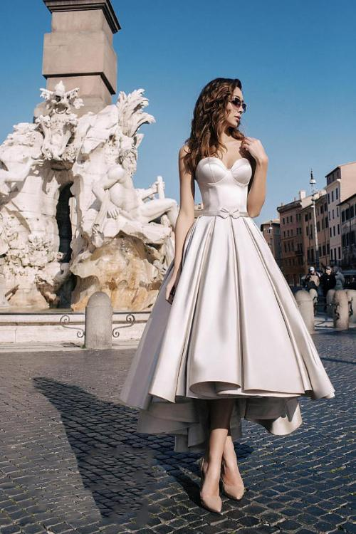 Modern Strapless Tea Length Satin Short Wedding Dress