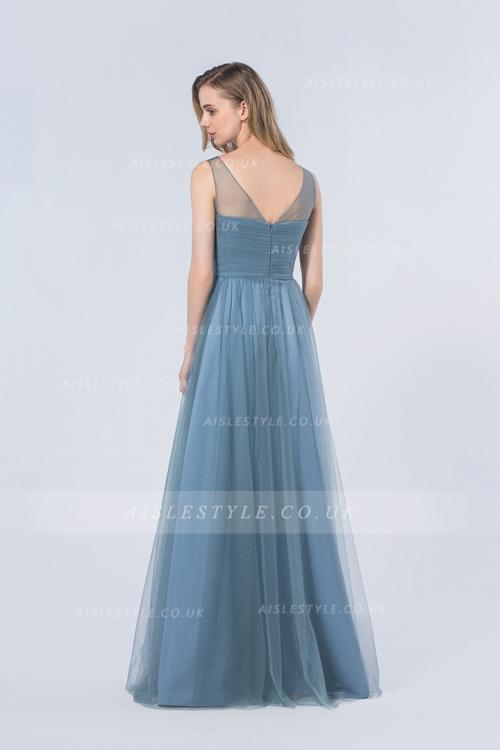 Popular Illusion Neck Sleeveless A-line Ink BlueTulle Bridesmaid Dress