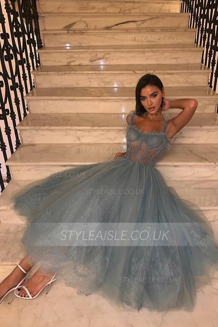 Fog Blue Spaghetti Straps Sweetheart Sleeveless Lace Ankle length Long Tulle Prom Dress