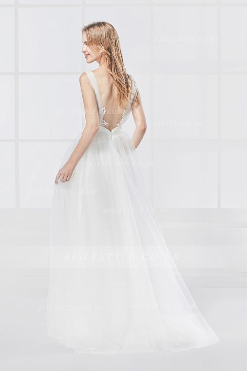 Empire A-line Spaghetti Straps Long Ivory Tulle Beach Wedding Dress