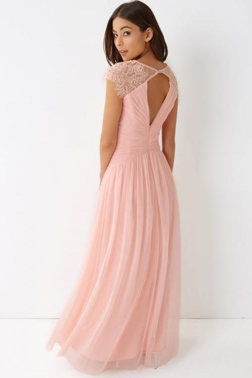 Chic Modern Sleeveless V Neck A-line Long Blush Chiffon Bridesmaid Dress