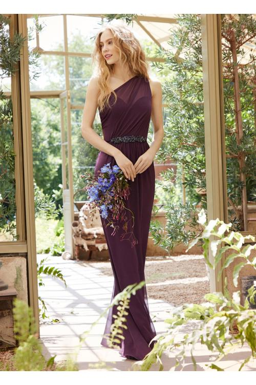 Elegant One Shoulder Sleeveless Long Sheath Chiffon Rustic Bridesmaid Dress with Belt
