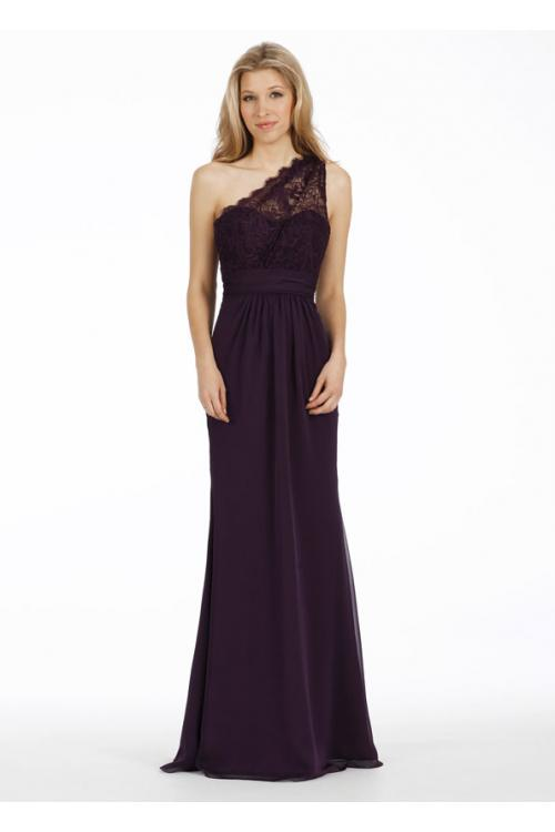 Exquisite Sleeveless One Shoulder Lace Top Long Chiffon Sheath Bridesmaid Dress