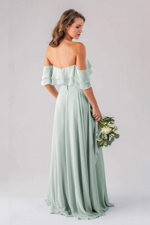 A-line Strapless Sleeveless Ruffles Floor-length Long Chiffon Bridesmaid Dresses
