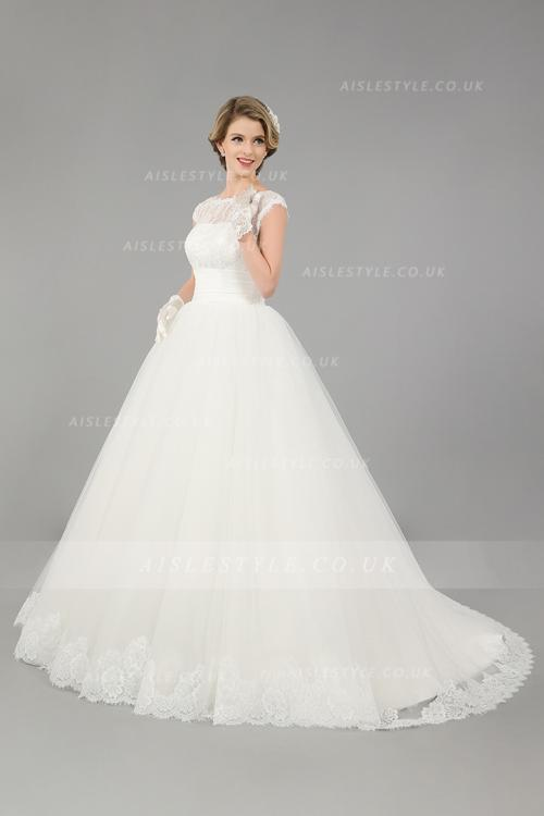 Ball Gown Cap Sleeves Lace Top Ivory Tulle Wedding Dress