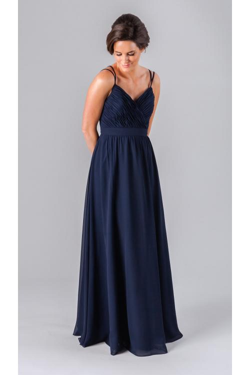 A-line Spaghetti Straps Long Beach Chiffon Bridesmaid Dress