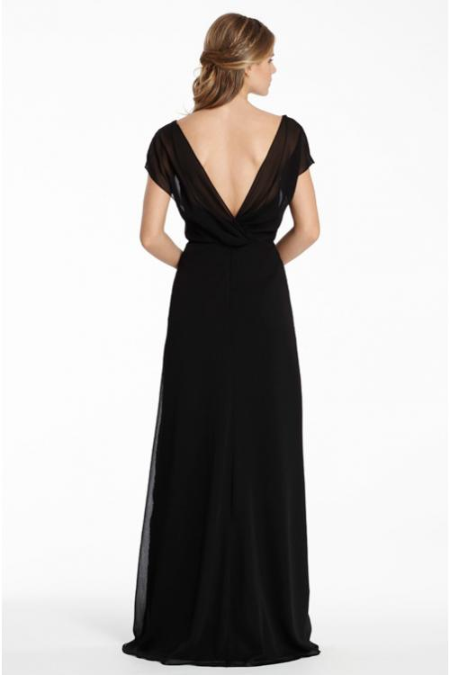 Casual V Neck Cap Sleeve Long Chiffon Bridesmaid Dress
