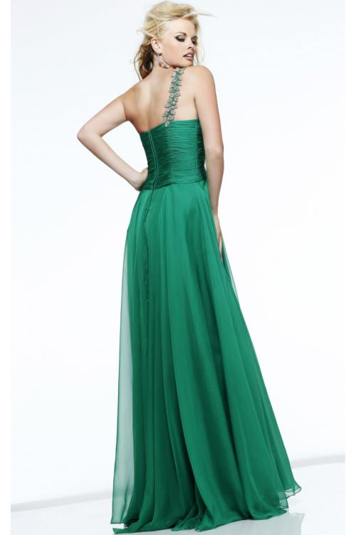 A-line One Shoulder Sleeveless Beading Ruching Floor-length 2016 Long Chiffon  Prom Dresses