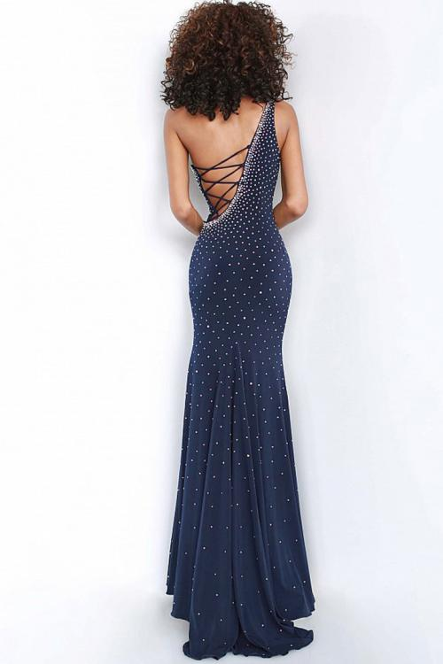 Mermaid One Shoulder Sleeveless Crystal Detailing Sweep Train Long Chiffon Prom Dresses