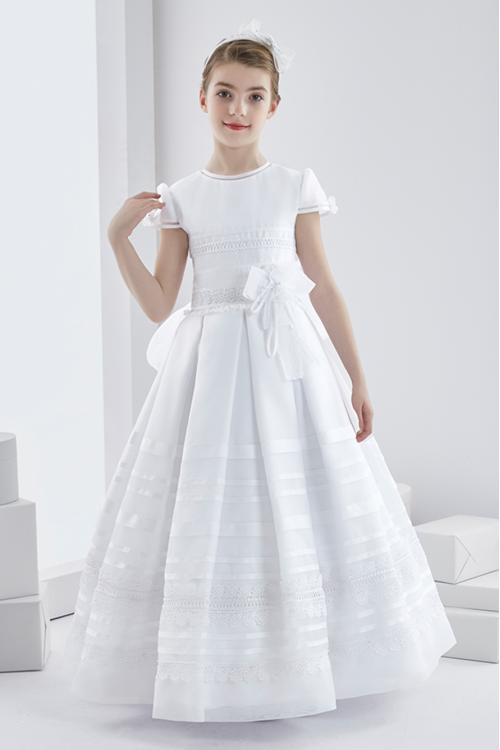 Short Sleeve Lace Ball GownLong White Organza Wedding Dress with Bow