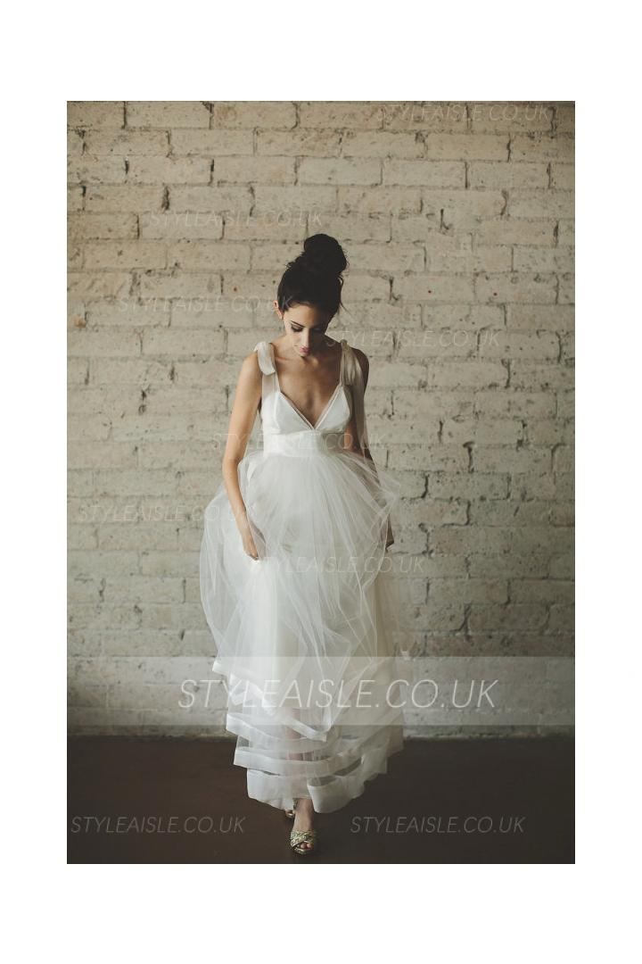 Shoulder Straps V Neck A-line Tiered Stripped Tulle Wedding Dress