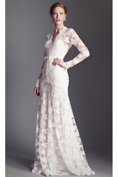Long Sleeve V Neck Lace Patterns A-line Wedding Dress