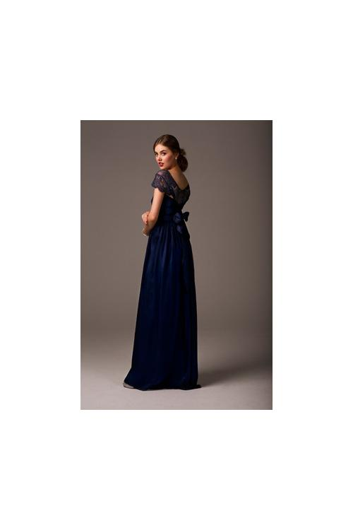 Modest Bateau Neck Lace Bodice Sheath Long Chiffon Bridesmaid Dress