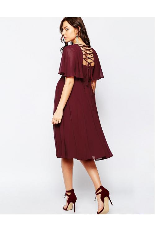 Short-Sleeve Maternity Lace-up Back Short Chiffon Dresses