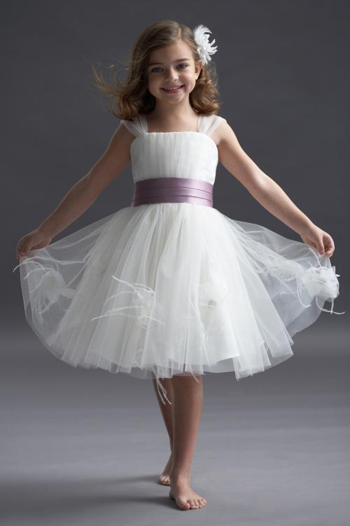 Nectarean Ball Gown Straps Hand Made Flowers Knee-length Tulle Flower Girl Dresses
