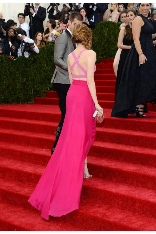 Emma Stone 2014 Met Ball Red Carpet Two Piece Split Chiffon Prom Dress