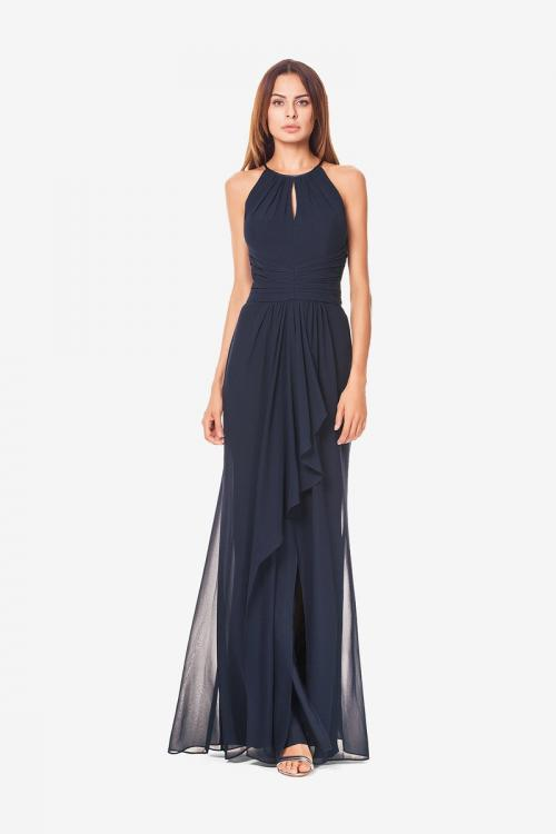 Sleeveless Halter Neck A-line Long Navy Blue Chiffon Bridesmaid Dress