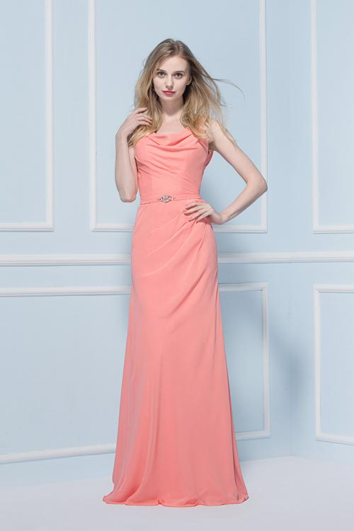 Cowl Neck Sheath Long Chiffon Coral Long Bridesmaid Dress with Crystal Ribbon