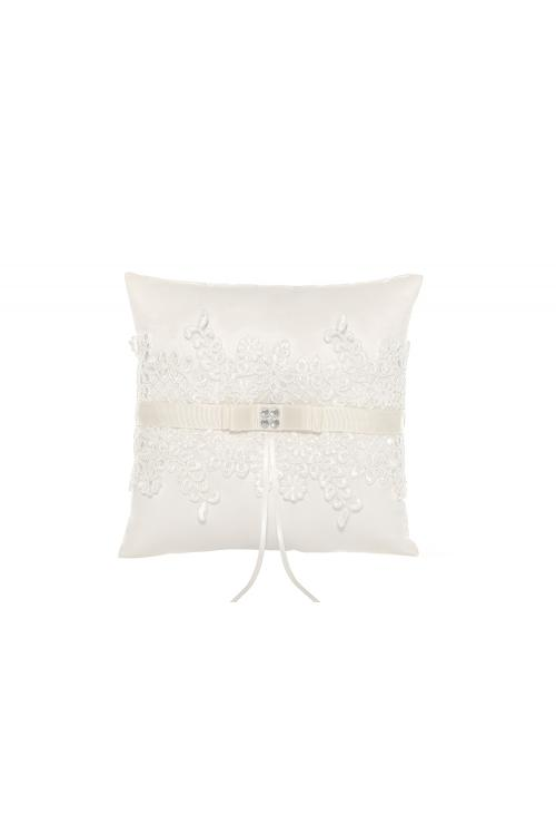 Ivory Wedding Ring Pillow With Exquisite Folwer Embroider 21*21CM