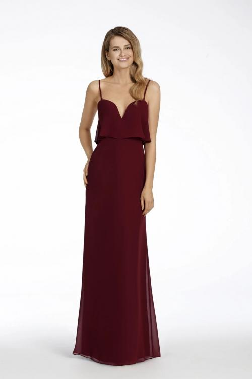 Sheath/Column Detachable Spaghetti Straps Sleeveless Empire Waist Floor-length Long Chiffon Bridesmaid Dresses