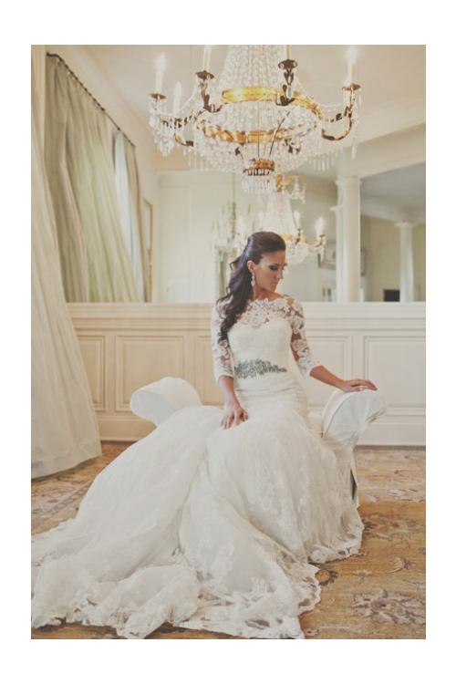3/4 Long Sleeved Bateau Neck Mermaid Lace Wedding Dress