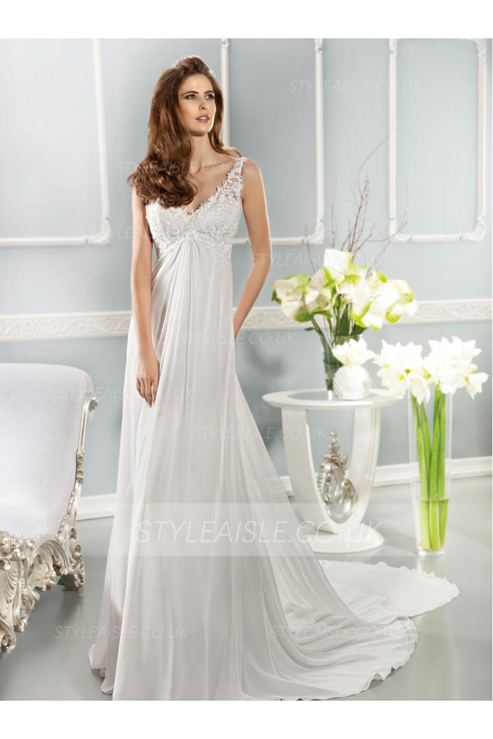 Charming Sheath/Column Straps V-neck Lace Sweep/Brush Train Chiffon Wedding Dresses
