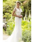 Beautiful V Neck Lace Embroidered Beaded Cap Sleeve Sheath Stretch Satin Wedding Dress with Crystal Ribbbon