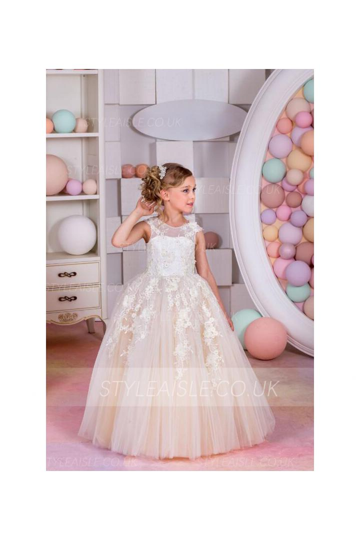 Ball Gown Jewel Sleeveless Lace Floor-length Champagne Colored Flower Girl Dresses