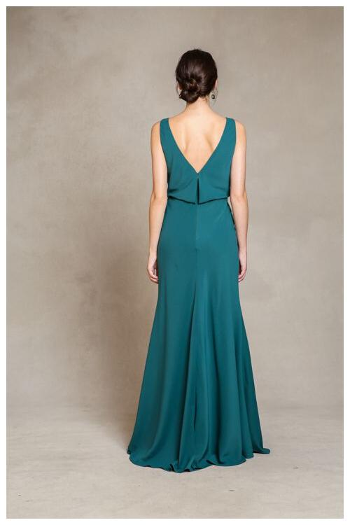 Chic Cowl Neck Casual Style Sheath Teal Long Chiffon Bridesmaid Dress