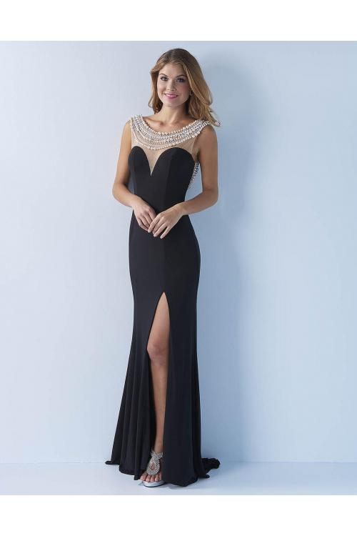 A-line Bateau Sleeveless Beading Split Floor-length Long Chiffon Evening Dress