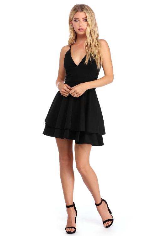 Short Spaghetti Straps A-line Layers Black Prom Dress Back Lace