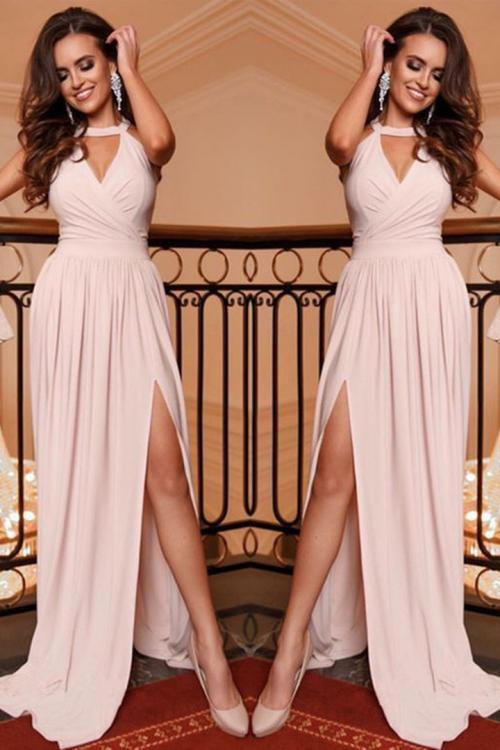 Charming A-line Halter Keyhole Sleeveless Split Floor-length Long Jersey Prom Dresses