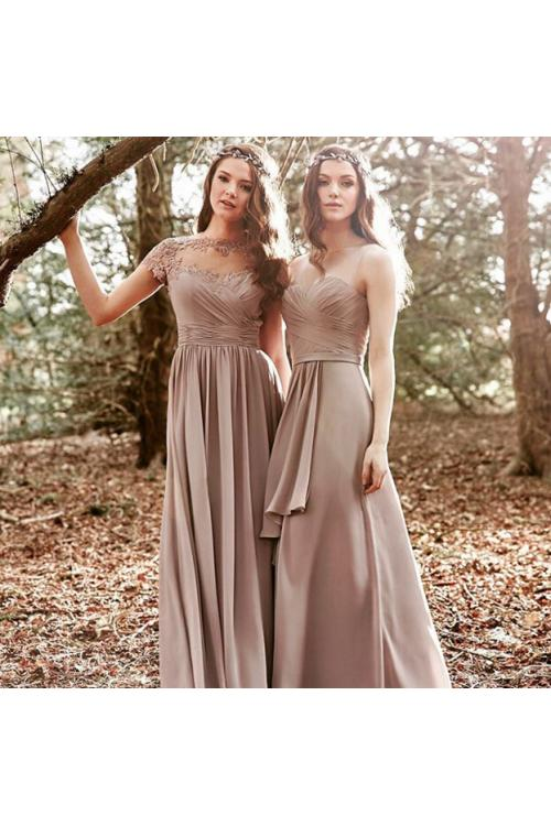 Vintage Short Sleeve Illusion Neck Long Chiffon Bridesmaid Dress