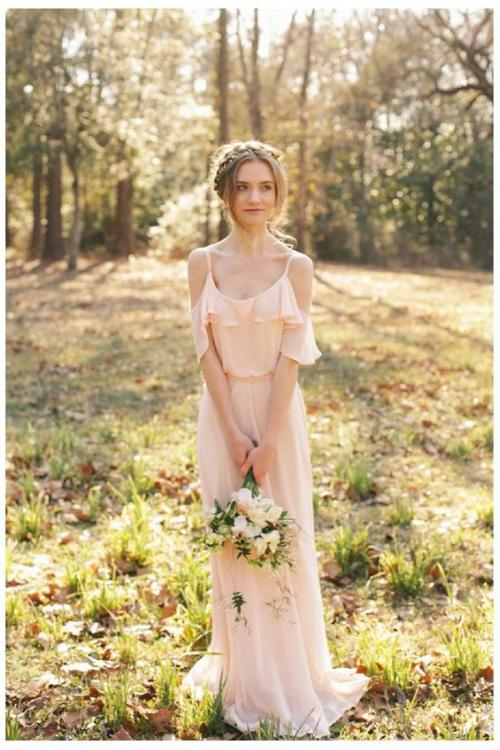 Vintage Blush Long Spaghetti Straps Chiffon Rustic Bridesamid Dress