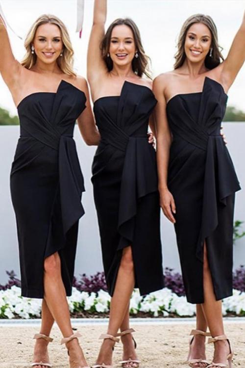 Sheath/Column Strapless Empire Waist Ruching Split Tea-length Short Bridesmaid Dresses