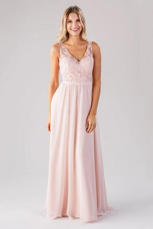 A-line Blush V-neck Sleeveless Lace Pockets Floor-length Long Chiffon Bridesmaid Dresses