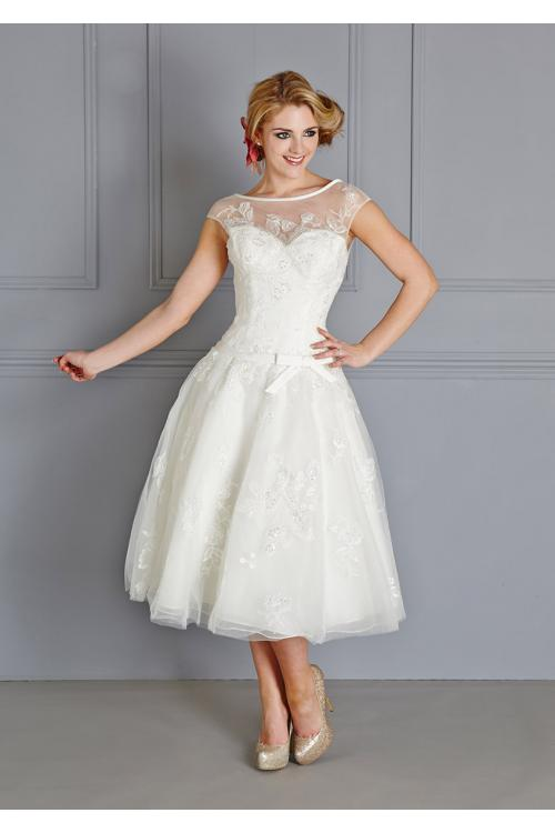 Lace Embroidered Bateau Illusion Neck Cap Sleeve Ball Gown Organza Wedding Dress