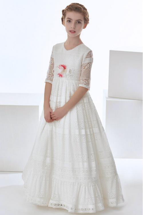 Vintage Jewel Neck 3/4 Sleeved Lace First Communion Dress with Flower
