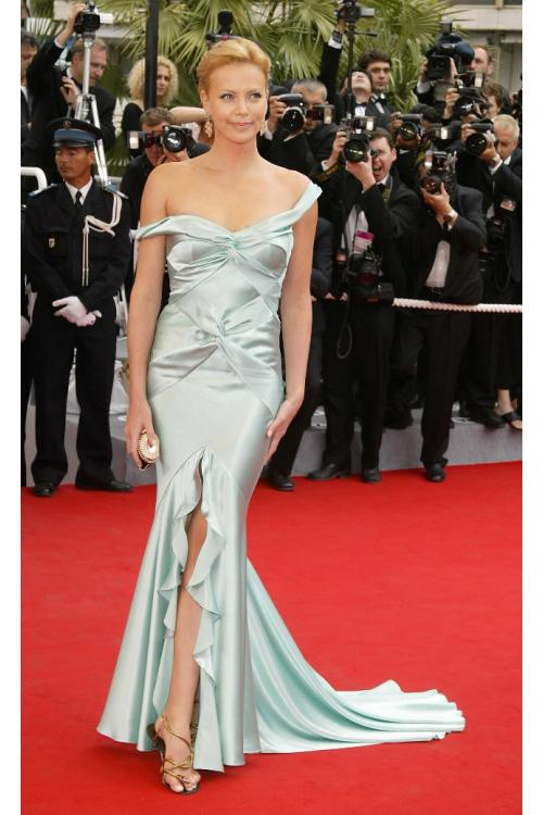 Elegant Charlize Theron Oscars 2014 Dior Mint Fit Flared Satin Prom Dress