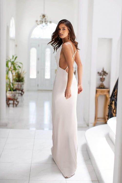 Ivory Sheath/Column V-neck Sleeveless Split Floor-length Long Jersey Evening Dresses