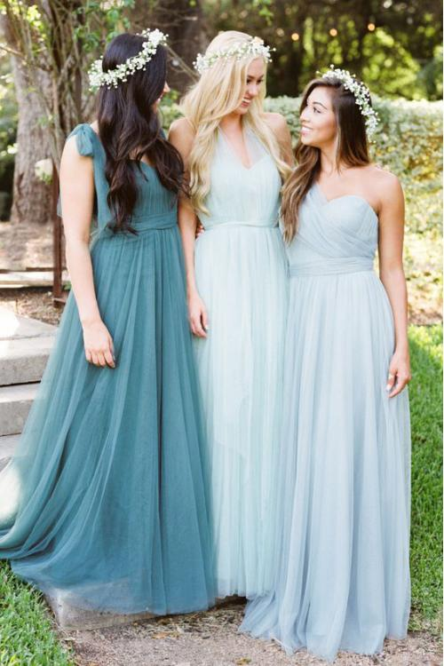 Sleeveless One Shoulder Pleated A-line Light Sky Blue Tulle Bridesmaid Dress
