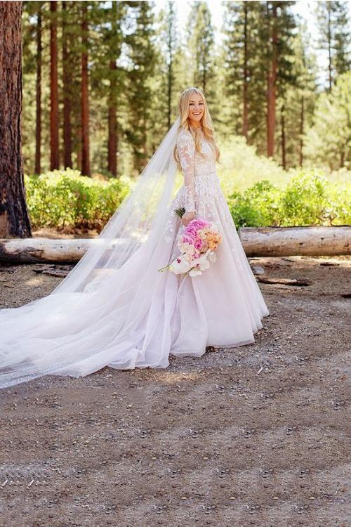 Pale Pink Color Long Sleeves Floral Lace overlay Tulle Beach Wedding Dress