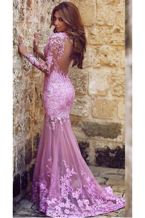Delicate Lace Appliqued Long Sleeved Mermaid Tulle Lace Covered Long Prom Dress