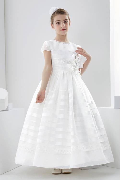Jewel Neck Short Sleeve Lace Pearl Detailing Floor-length Long Organza Communion Dresses